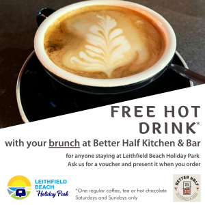 Stay at Leithfield Beach Holiday Park and get a free hot drink at Better Half Kitchen & Bar